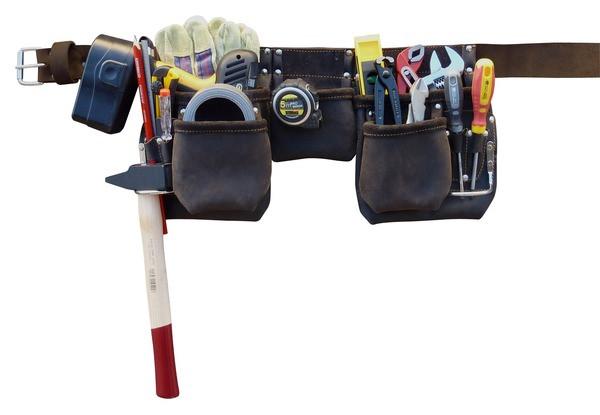 Ceinture à outils pro cuir 11 compartiments