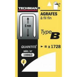 Agrafes fil fin type b 8mm de marque TECHMAN, référence: B684200