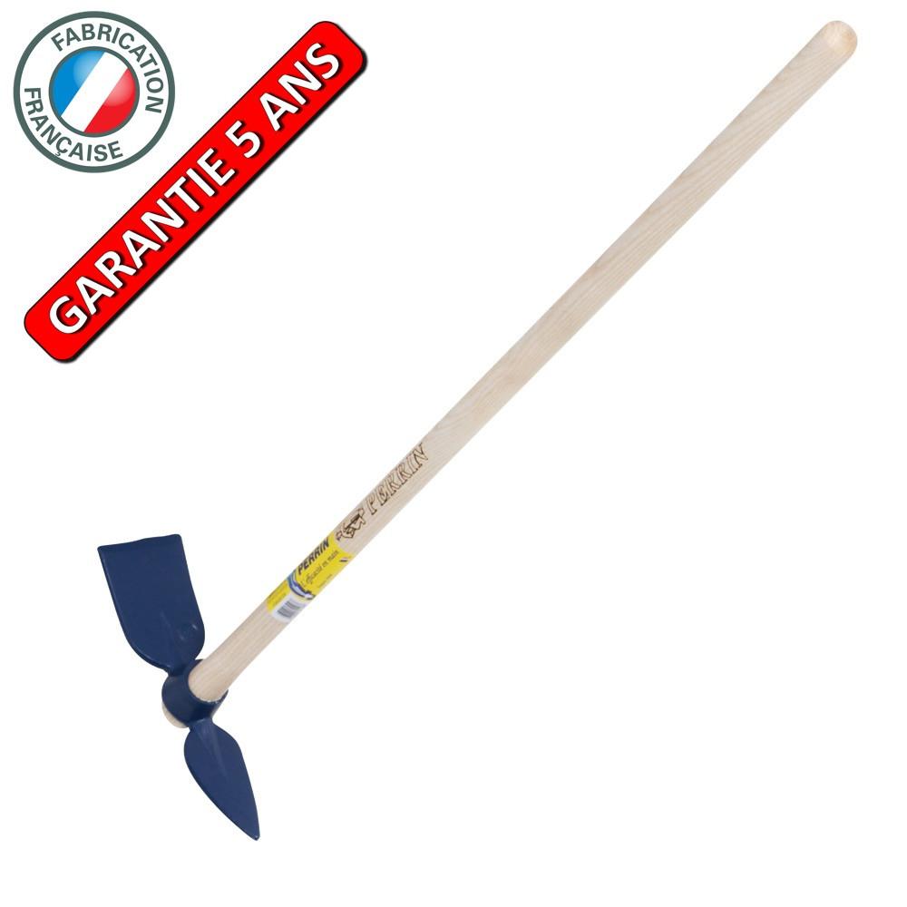 Serfouette forgée panne et langue de 26 cm manche 1,30 m, pour le jardin et le potager