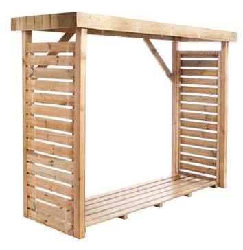 Abri à bûches en bois avec plancher - 2,7 stères