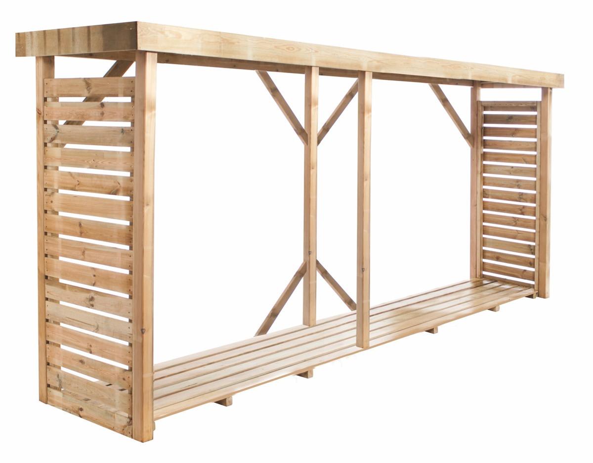 Abri à bûches en bois avec plancher - 6,5 stères