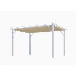 Pergola 100% aluminium couleur écru 12 m2 - structure blanch perle de marque HABRITA, référence: J5014200