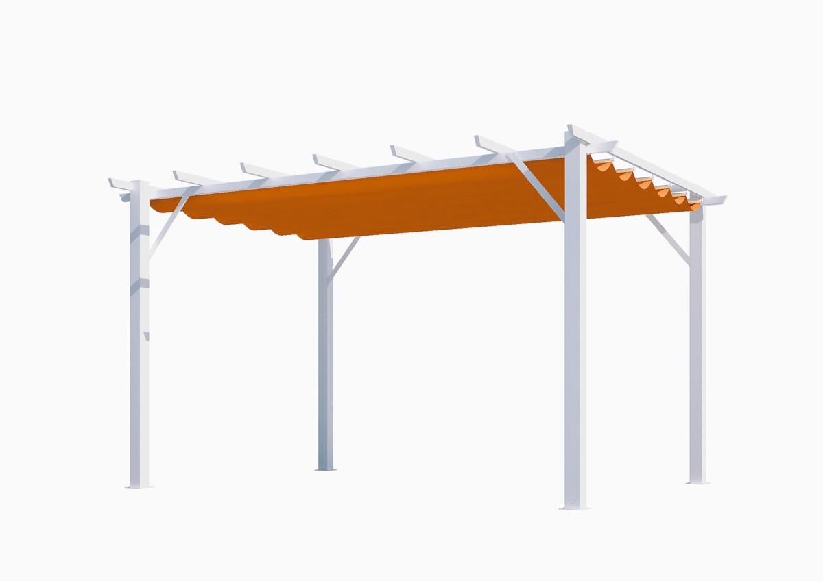 Pergola 100% aluminium couleur rouille 12 m2 - structure blanch perle