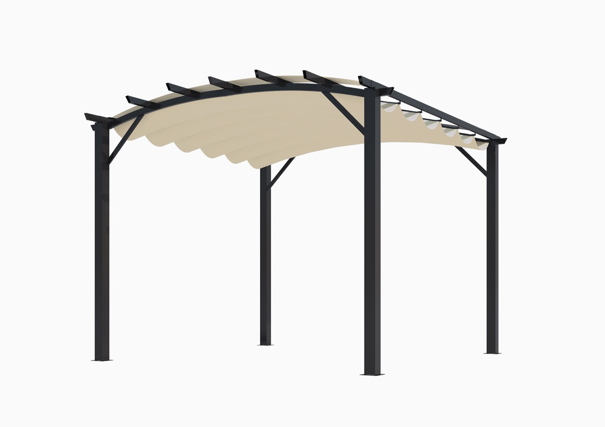 Pergola structure mixte 11,22 m2 - toile couleur écru