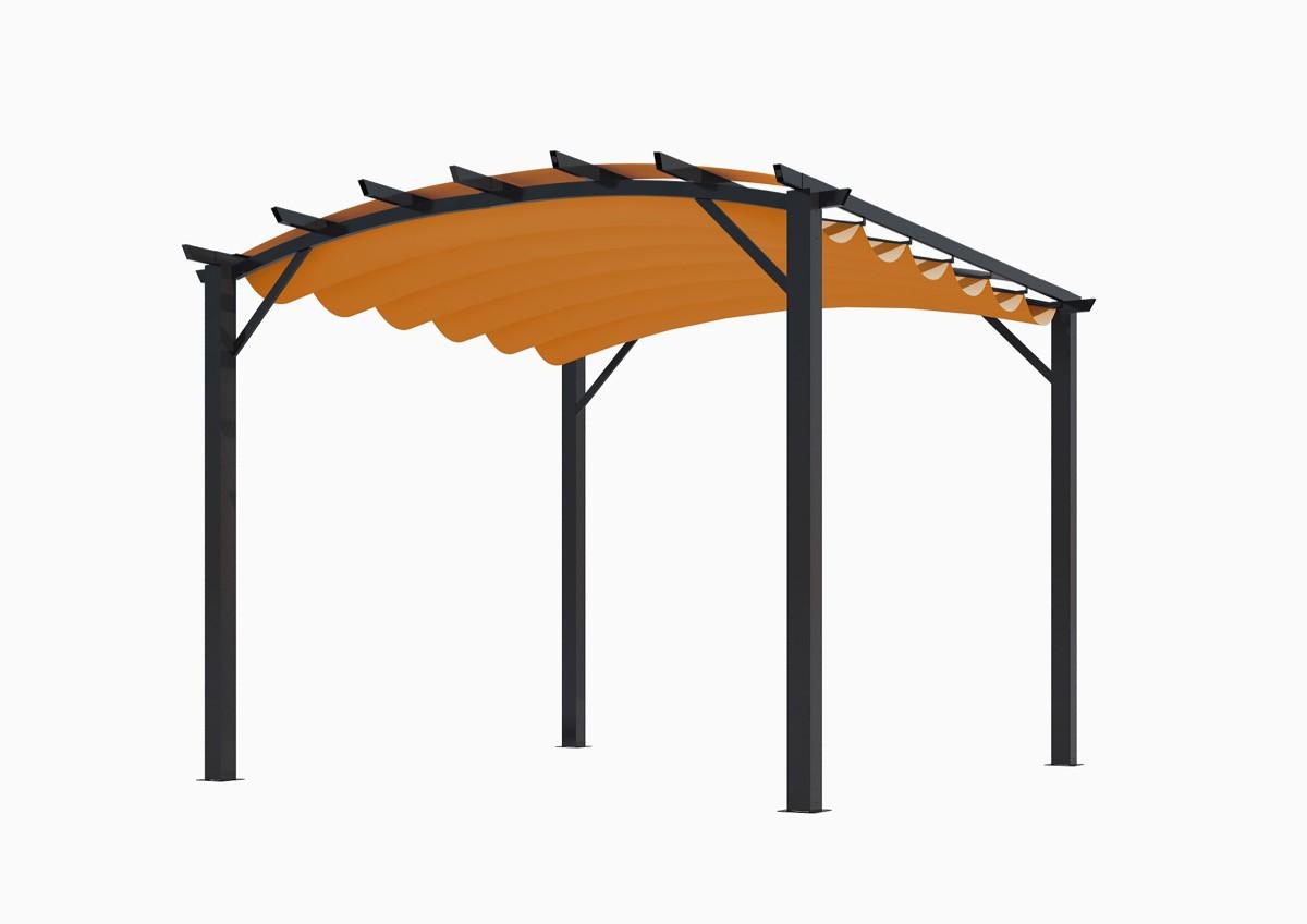 Pergola structure mixte 11,22 m2 - toile couleur rouille