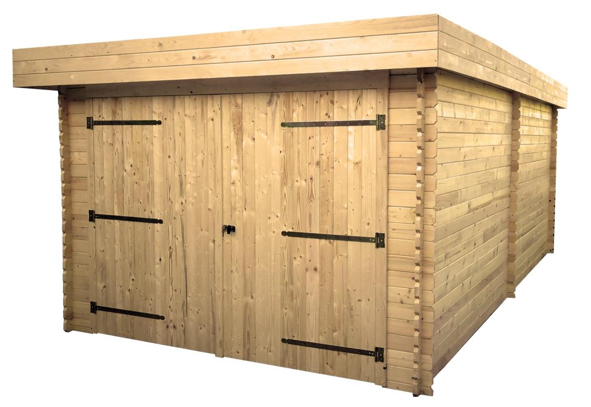 Garage toit plat Madriers emboîtés