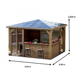 Pool house BLUETERM double comptoirs et double parois ventelles de marque HABRITA, référence: J5020000