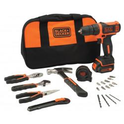 BDCDD12HTSA-QW Perceuse visseuse sans fil - 12 V max - 1,5 Ah - 1 batterie - 14 accessoires et 6 outils à main de marque Black+Decker, référence: B5036000