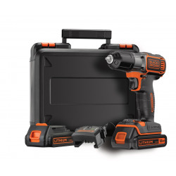 ASD184KB-QW Perceuse visseuse Autosense sans fil - 18V - 1,5 Ah - 2 batteries - Chargeur inclus - Livrée en coffret de marque Black+Decker, référence: B5036100