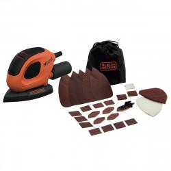 BEW230BCA-QS Ponceuse de détail Mouse filaire - 55 W - Ø = 130 x 91 mm - Fixation auto-agrippant - 15 abrasifs de marque Black+Decker, référence: B5039600