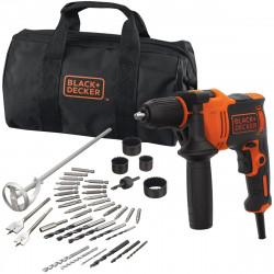 BEH710SA40-QS Perceuse à percussion filaire - 710 W - 47 600 cps/min - 40 accessoires - Livrée en sac souple de marque Black+Decker, référence: B5040100