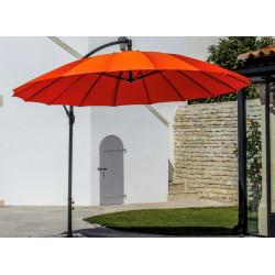 Parasol déporté Pagode - Diamètre 300 cm - Aluminium - Toile paprika de marque PROLOISIRS, référence: J5162600