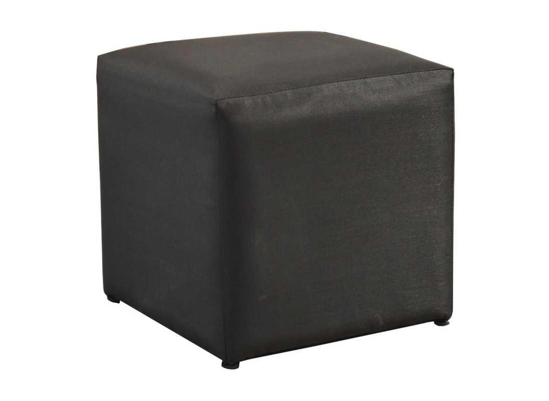 Tabouret pouf Cub - 43 x 43 cm - Toile noire