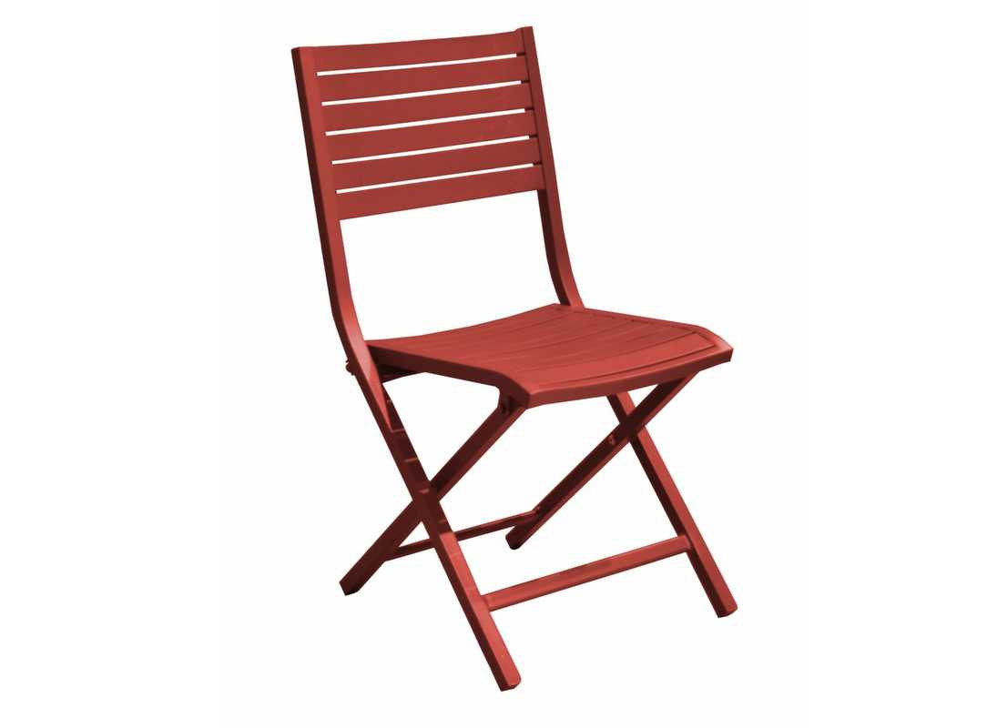 Lot de 6 chaises pliantes Lucca - Aluminium - Rouge