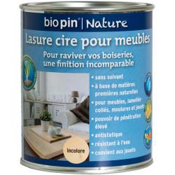 Lasure cire naturelle pour meubles 0,75 L - Incolore de marque Biopin Nature, référence: B5244100