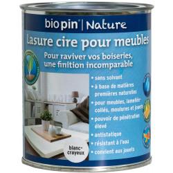 Lasure cire naturelle pour meubles 0,75 L - Blanc-crayeux de marque Biopin Nature, référence: B5244300