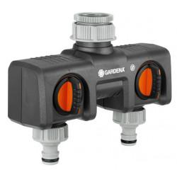Sélecteur d'arrosage sur robinet 2 circuits filetage 33,3 mm de marque GARDENA, référence: J347500