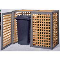 """Cache-poubelle """"Kaprun"""" avec couvercle basculant pour 2 poubelles de marque GASPO , référence: J4253800"""