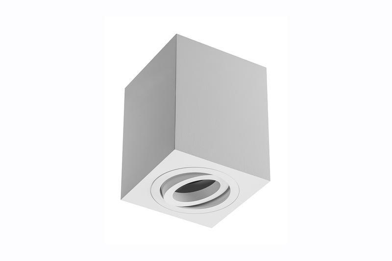 Petit plafonnier cubique SENSA avec tête rotative - Aluminium - Blanc - 11,5 cm - IP 20