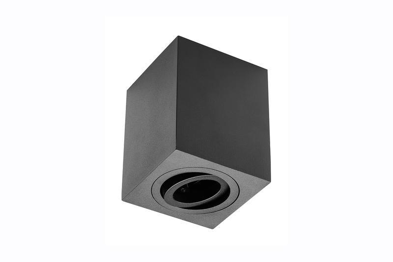 Petit plafonnier cubique SENSA avec tête rotative - Aluminium - Noir - 11,5 cm - IP 20