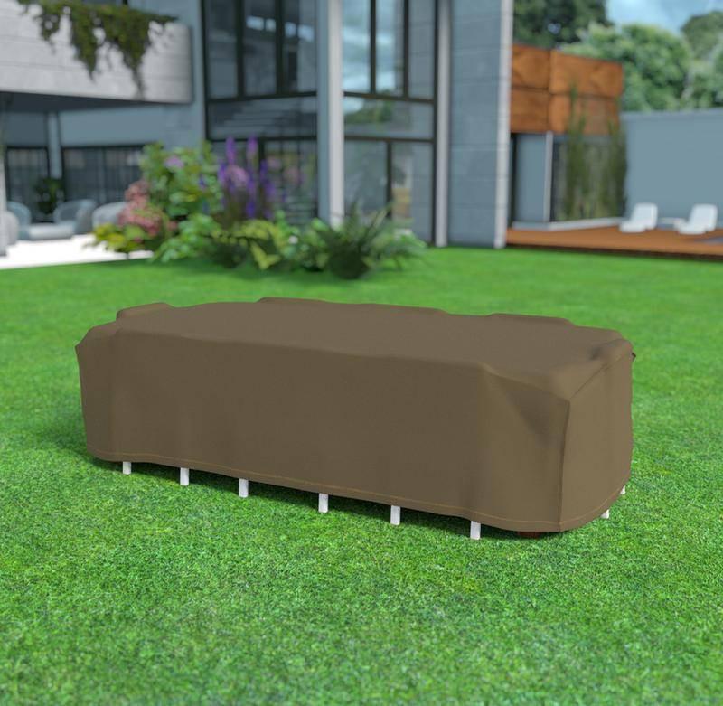 Housse de protection en polyester 325 x 205 x 90 cm - pour table rectangulaire + 8 chaises - 90g/m2