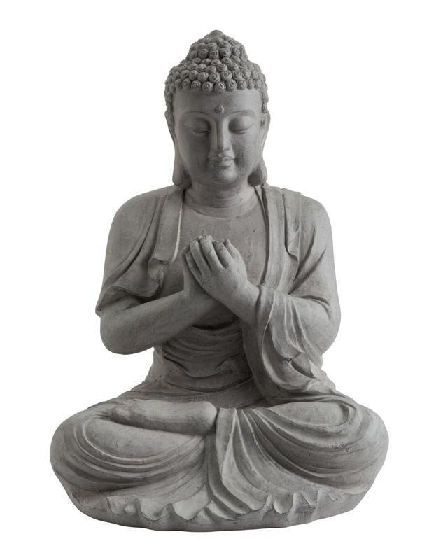 Statue décorative BUDDHA en fibre de verre et argile - 60 cm