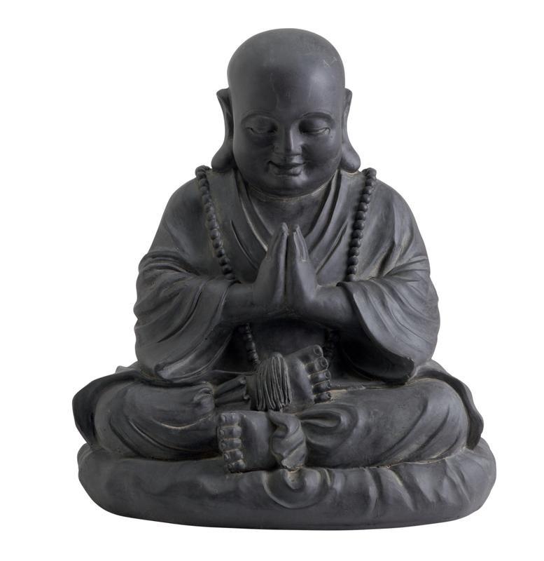 Statue décorative HAPPY BUDDHA en fibre de verre et argile - 53 cm