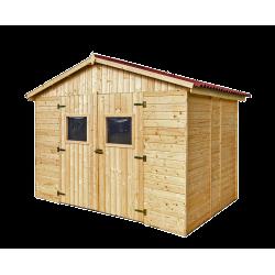 Abri en panneaux de bois sans plancher - 16 mm - surface utile 5,41 m2 - double porte de marque HABRITA, référence: J5404300