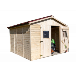 Abri en panneaux de bois sans plancher - 16 mm - surface utile 7,62 m2 - double porte de marque HABRITA, référence: J5404400