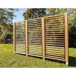 Panneau brise vue en bois traité - ventelles mobiles - dimensions 100 x H 200 cm de marque HABRITA, référence: J5406300