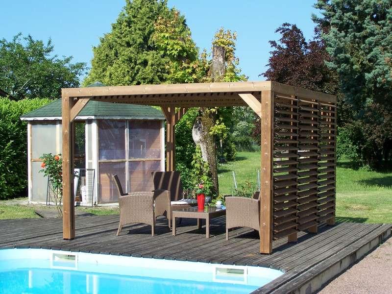 Pergola en bois massif traité - ventelles mobiles - dimensions 341 x 313 cm - visserie inox
