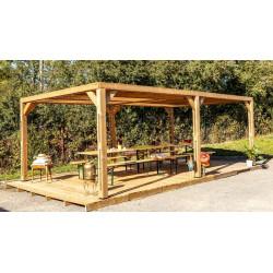 Pergola grandes dimensions en bois massif traité - toit en ventelles mobiles - 341 x 614 cm de marque HABRITA, référence: J5406800