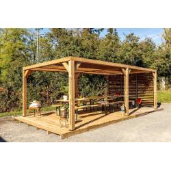 Pergola grandes dimensions en bois - toit et 1 mur en ventelles mobiles - 341 x 614 cm de marque HABRITA, référence: J5406900