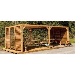 Pergola grandes dimensions en bois - toit et 2 murs en ventelles mobiles - 341 x 614 cm de marque HABRITA, référence: J5407000