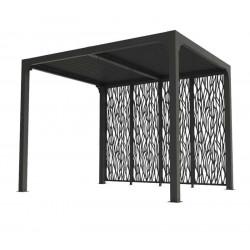 Pergola bioclimatique en aluminium + 4 panneaux - 7,20 m2 - toit en lames mobiles - gris anthracite de marque HABRITA, référence: J5407300