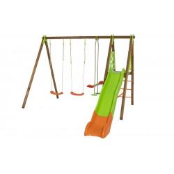 Portique AKEO TECHWOOD - hors tout 12,50 m² - 3 agrès + toboggan de marque Trigano, référence: J5451800