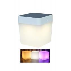 Lampe à poser Blanche TABLE CUBE, LED Intégrée, 1W, 100 lumens, 2700 to 6500K, RGB, IP44, SOLAIRE, Classe III de marque CALI, référence: B5463800