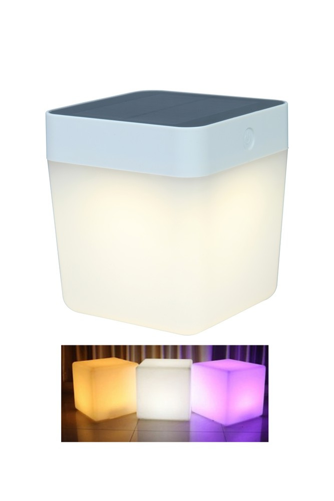 Lampe à poser Blanche TABLE CUBE, LED Intégrée, 1W, 100 lumens, 2700 to 6500K, RGB, IP44, SOLAIRE, Classe III