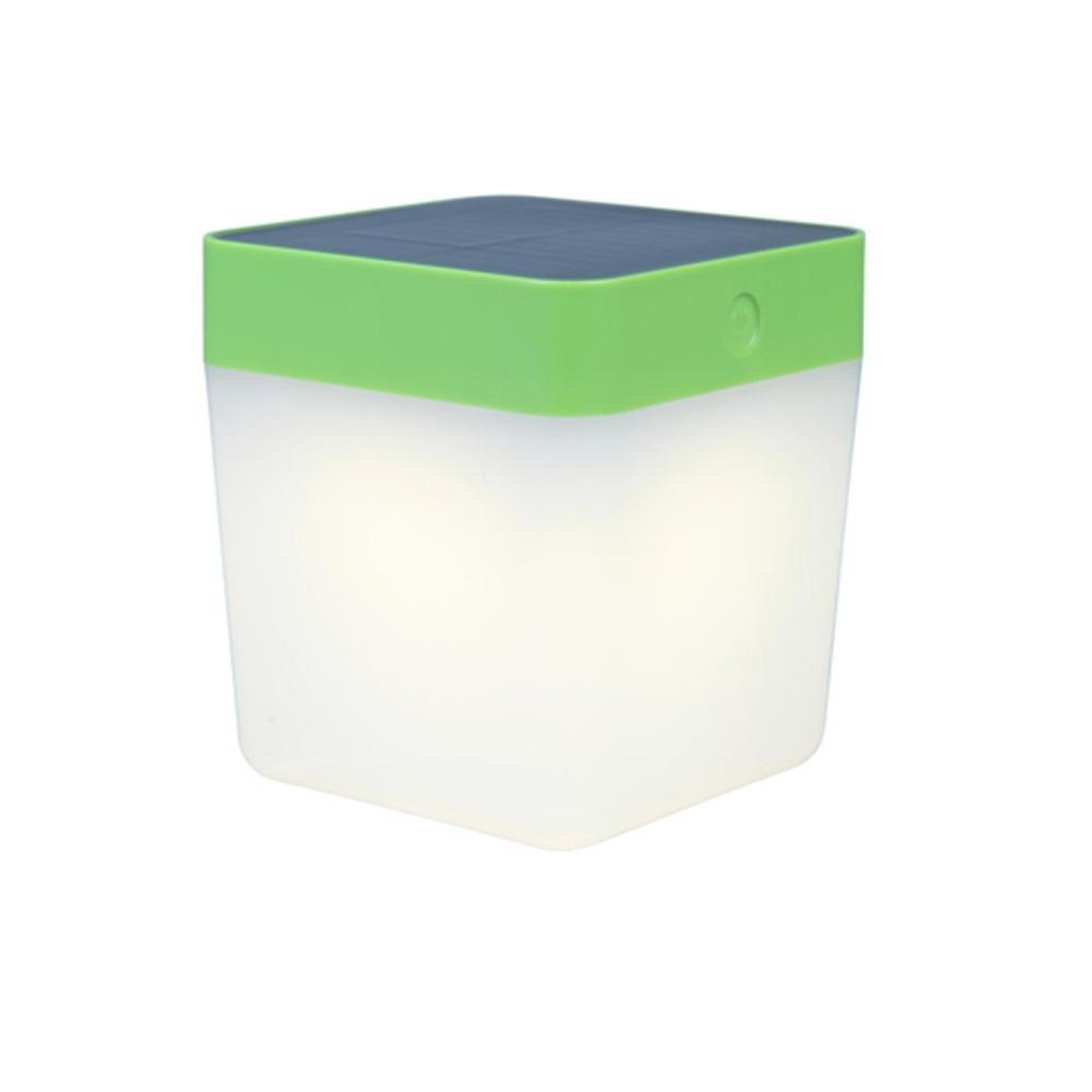 Lampe à poser Verte TABLE CUBE, LED Intégrée, 1W, 100 lumens, 3000K, IP44, SOLAIRE, Classe III