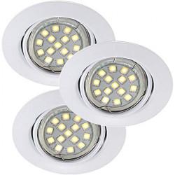 Spot Encastrable Blanc Triton LED SMD, Gu10, 3x 3W, IP23, 230V, Classe II de marque CALI, référence: J5472900