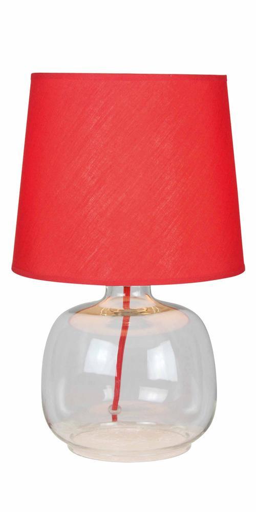 Lampe à poser Rouge/Transparent Mandy, 1xE14 Max 40W , IP20, 230V AC, Classe II