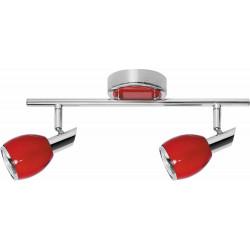 Plafonnier Colors, Rouge & Chrome, 2x GU10-Max.50W, IP20, 230V, Classe I de marque Britop, référence: B5482200