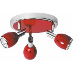 Plafonnier Colors, Rouge & Chrome, 3x GU10, Max.50W, IP20, 230V, Classe I de marque Britop, référence: B5482300