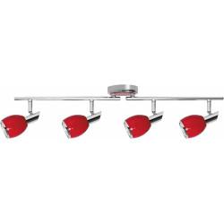Plafonnier Colors, Rouge & Chrome, 4x GU10-Max.50W, IP20, 230V, Classe I de marque Britop, référence: B5482400
