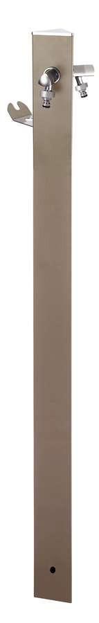 Colonne d'eau TRIANGLE Grise tourterelle - 120 cm - Aluminium - Double robinet