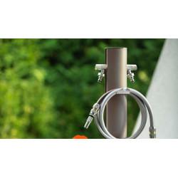 Colonne d'eau TOTEM - 120 cm - Aluminium - Double robine - Gris tourterelle - Colortap