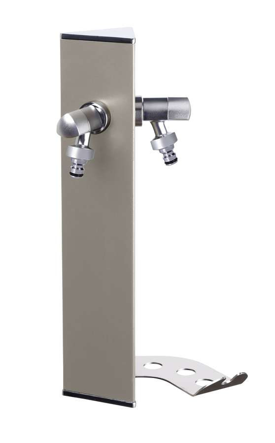 Colonne d'eau murale WALL Grise tourterelle - 40 cm - Aluminium - Double robinet