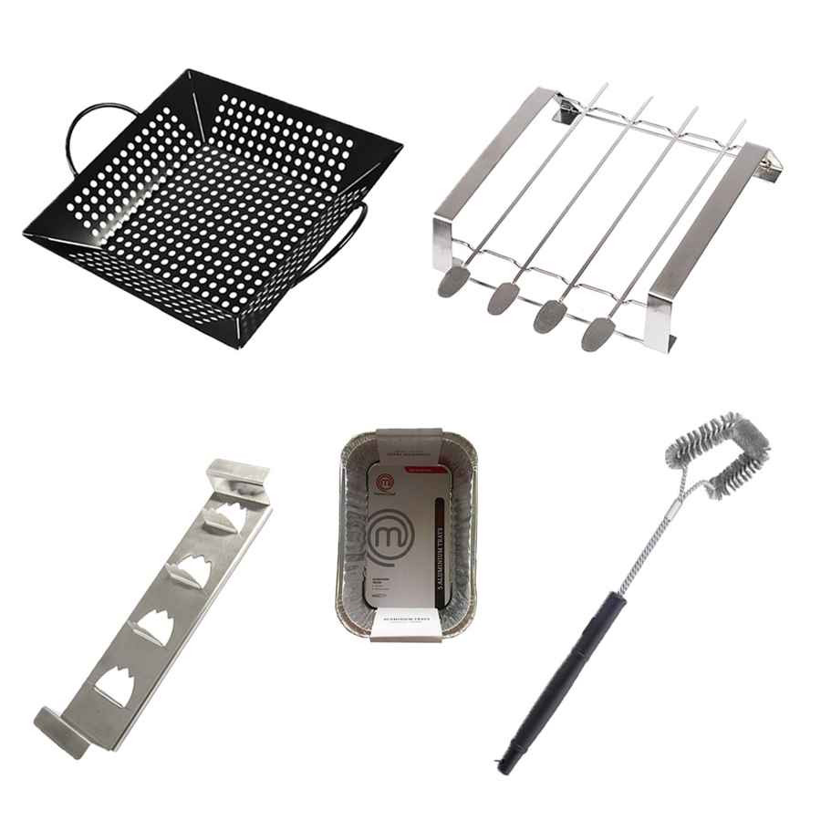 Kit 4 accessoires pour barbecue - Supports - Brosse - Barquettes alu