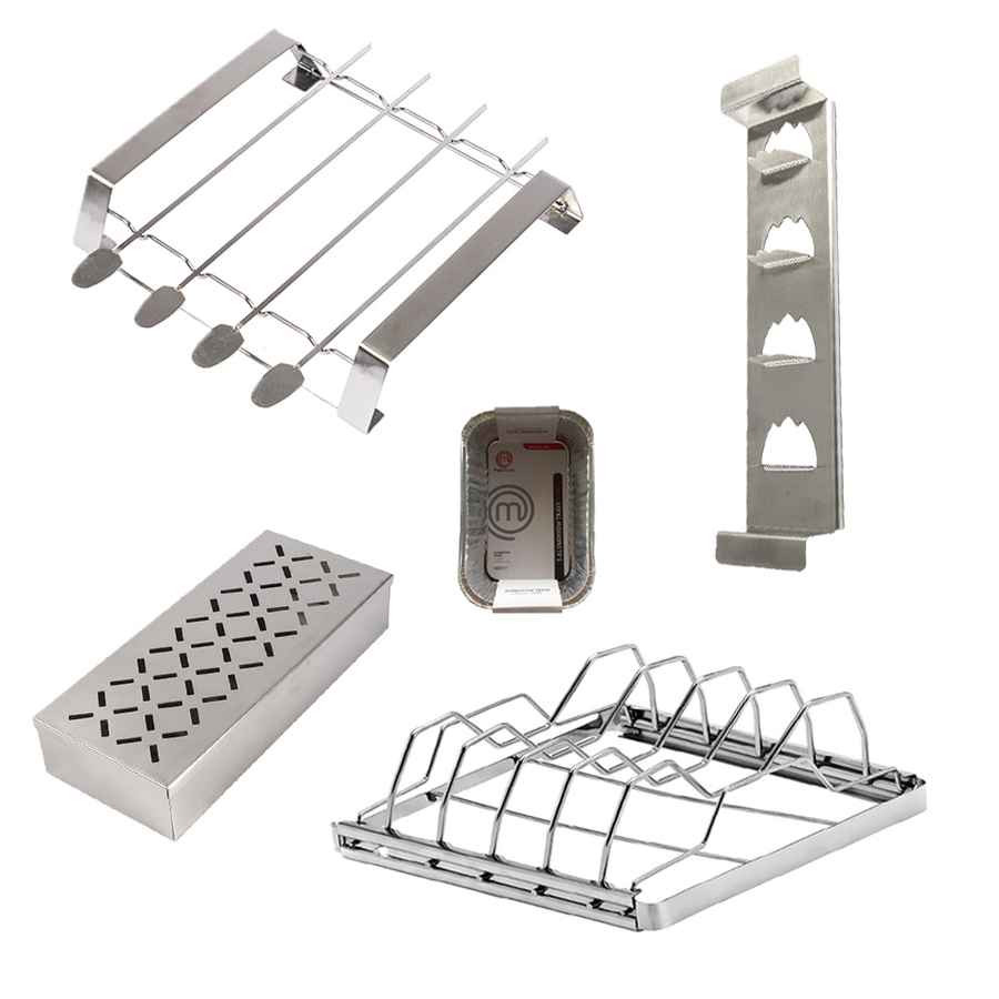 Kit 4 accessoires pour barbecue - Supports - Fumoir - Barquettes alu