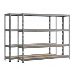 Lot de 2 étagères Rack charge lourde MODULÖ - 4 plateaux - 220 x 40 cm de marque Modulö Storage, référence: B5505800